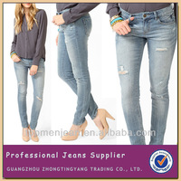 Customized Western Style Blue Fading Fashion Destroyed Washed Skinny Lady Ripped Jeans(FE13)