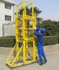 mobile FRP telescopic ladder with wheels, FRP lift ladder