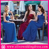 LV70036 One shoulder Sweetheart A-line Floor length Pleated Chiffon blue and purple bridesmaid dress