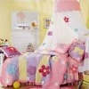 girl's princess bedding set with canopy and patchwork quilt