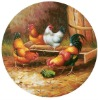 Oil-painting cock decal for decorative plate