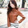 fashion epaulet slim women leather jacket