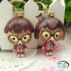 wedding gift hot sell wearing glasses boy and girl lover keychain keyring