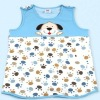 Two layers pure cotton printed & embroidered dog pattern vest style baby sleeping sack bag