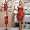 LR 153 New Style High Neck Sleeveless Knee Length Chiffon Coral Color Bridesmaid Dress