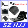 Universal Leather Case With Bluetooth Keyboard And Hand Strip For The New iPad 3 iPad 2