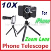 10X Telescope Camera Zoom Lens with Tripod Case for iPhone Smart Mobile Phone