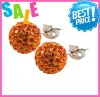 Mixed Shamballa Earrings With AB Clay Ball Women's Stud Earring