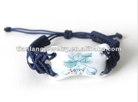 wholesale handmade ceramic lotus charm knitted bracelet