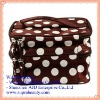 Brown Unique Dots Pattern Double Layer Traveling Cosmetic Bag with Mirror