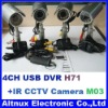Wired IR CCTV camera Kits w/ DVR Recorder Surveillance system M03+H71