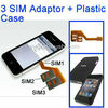 Dual SIM Card Adapter for iphone 4 + Plastic Case for Multi-SIM Card