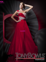 2013 Red Long Chiffon Prom Dresses /Gowns