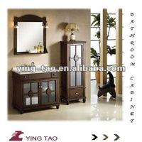 Europe design bathroom color floor mounted solid Wood modern Bathroom Funiture Vanitary cabinet with Round MirrorB-918