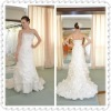 Sheath Column Embroidery Sleeveless Watteau Train Ruffles Stain and Lace Wedding Dress WDS25