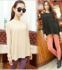 ek0154 Korean Style Long Sleeve Loose A Line Pleated Chiffon T Shirts