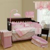 16pcs luxury soft velour pink baby bedding set