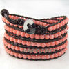 pink coral hand-knitted stainless steel clasp wrap bracelet choose for woman