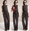 zc04054 Sleeveless Design Artificial Cotton Women's Printed Jumpsuit