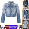 Blue Color Classic Women's Slim-fit Denim Jacket