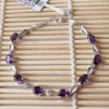"Rhodium Plated 925 Sterling Silver Amethyst Bracelet 7.5""-l050744agz"
