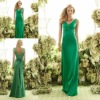 AS6550 Latest Style V Neck Sleeveless Long Charmeuse Green Bridesmaid Dresses
