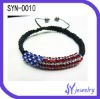 2012 Cool American Flag Shamballa Bracelets U.S.A Hot Nowadays
