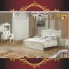 EX01 Antique European style oak solid wood white antique bedroom furniture