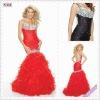 3502-1hs Beadings on halter with Floor-Length layers Red organza mermaid trumpet style prom dress