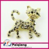 Fashion Black Rhinestone Cat Brooch