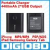 4400mAh Mobile Power for iPad Samsung Galaxy Tab iPhone MOBILE PHONE MP3/MP4 PSP/NDS 2 USB Output Portable Charger