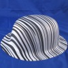 white with black tripe pvc hat
