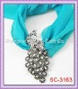 Hard To Find!!!! SC-3163 Peacock Scarf Charm With Clear Rhinestone
