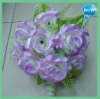 2012 hot sell 18 head rose flower bush,bouquet flower,cheap silk bouquet flower