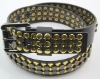 black PU men's golden belt with studs YJ3646