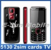 quad band unlocked 2 sim cards TV mobile phone 5130 with TV