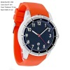 Mens Blue Dial Orange Rubber Strap Quartz Watch