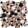 Irregular mixed color round-shaped marble mosaic