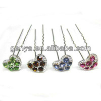Heart shaped Gem hairpin, U Shape Hairpin