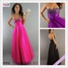 2142-1hs New Style Hot Sale Sweetheart Empire Foor Length A-Line Tulle Made black prom dresses