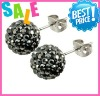 Wholesale Shamballa Studs Earring 10mm Silver Plated Round Anti-allergy
