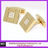 square stainless steel CZ cufflink for man