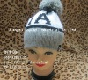 acrylic Jacquard letters Knitted double layer beanies with floccule