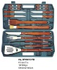 (BBT-0618PB) BBQ Tool Set / BBQ Tool 16 Pieces set with Paka Wood Handle in Plastic Case