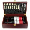 6pcs wine corkscrew with doulbe wine wooden box holder wine set