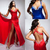 2013 Curve-kissing Sweetheart Elastic Satin Backless Party Dress Red Evening Gown Evening Dress
