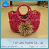 Hot sale rectangle red lady hangbags with metal handle