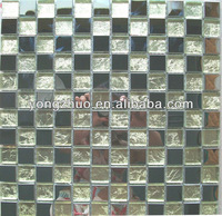 gold leaf glass mosaic mixed stainless steel mosaic