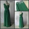 One shoulder beaded ruffle chiffon emerald green evening dress