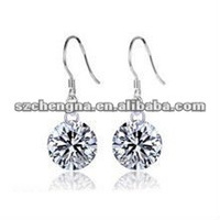 Fashion 925 Silver earring Jewelry ear pendants shining cz